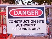 Construction Site Sign stock image