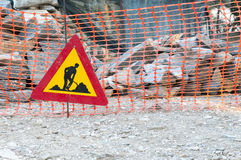 Construction site sign. Construction site metal sign in working site Stock Image