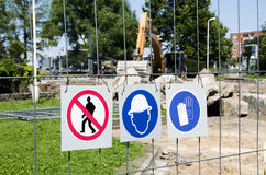 Construction site signs Royalty Free Stock Image