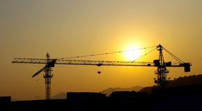 Construction site silhouette Royalty Free Stock Photography