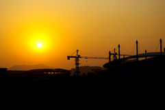 Construction site silhouette Royalty Free Stock Photos