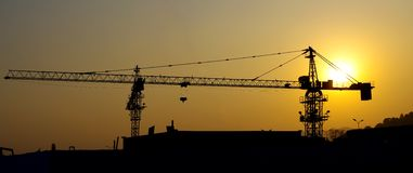 Construction site silhouette Stock Images