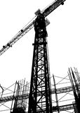 Construction Site Silhouette. With crane and scaffolding Stock Image
