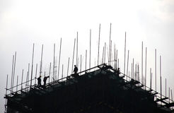 The construction site silhouette Stock Image
