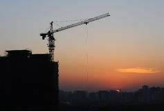Construction site silhouettes in Beijing after sunset Stock Photo