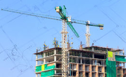 Construction site, silhouettes of workers Royalty Free Stock Images