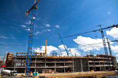 Construction site of soccer stadium Stock Photo
