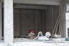 Construction Site and Some Tools. Photo has taken from Buca/Turkey. A good view from construction of a new building Royalty Free Stock Photo