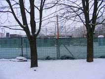 Construction site of sport complex in winter city. Construction site of sport complex royalty free stock image