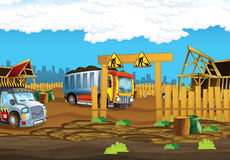 On the construction site stage with no people for different usage. Beautiful and colorful illustration for the children - for different usage - for fairy tales stock illustration