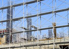 The construction site and steel frame Stock Image