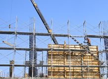 The construction site and steel frame Stock Photos