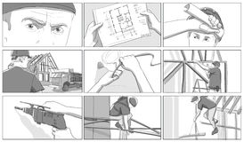 Construction site storyboards. Building and draughts royalty free illustration