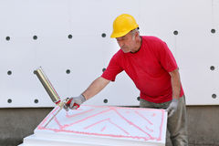 Construction site, styrofoam insulation Stock Images