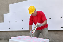 Construction site, styrofoam insulation Royalty Free Stock Photography
