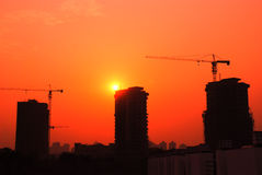 Construction site sunrise Royalty Free Stock Image