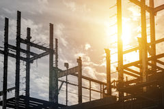 Construction site at sunrise. Building construction site at sunset Stock Photography