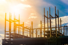 Construction site at sunrise. Building construction site at sunset Stock Image