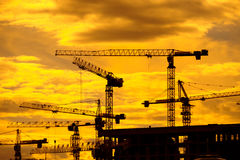 Construction site at sunrise. Building construction site at sunset Royalty Free Stock Image