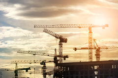 Construction site at sunrise. Building construction site at sunset Royalty Free Stock Images