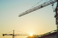 Construction site with sunrise. Stock Photos