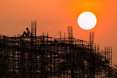 Construction site with  sunrise or sunset  sky. Background Stock Photo