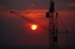 Construction site on sunset. Royalty Free Stock Photos