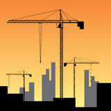 Construction site on sunset. vector illustration