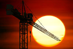 Construction site at sunset Stock Photos