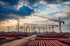 Construction site with sunset Stock Photography