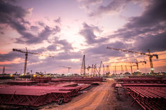 Construction site with sunset Stock Photo