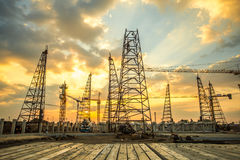 Construction site with sunset Royalty Free Stock Photos