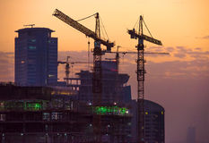 Construction site at sunset Royalty Free Stock Images