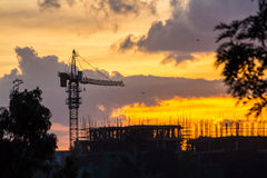 Construction site at sunset Royalty Free Stock Photography