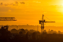 Construction site at sunset Stock Photo