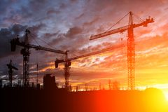 Construction site at sunset Royalty Free Stock Photo