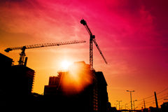 Construction site in sunset Royalty Free Stock Photo