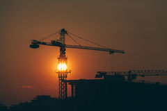 Construction site in sunset Stock Images