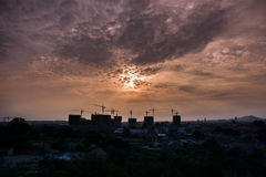 Construction site sunset wide view Royalty Free Stock Images