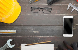 Construction site table with free space for text Royalty Free Stock Images