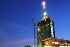 Construction site with tower crane loader Royalty Free Stock Photos