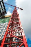 Construction Site With Tower Crane at Low Angle View While Under Constructed, Real Estate Development, Business Industry.  royalty free stock photography