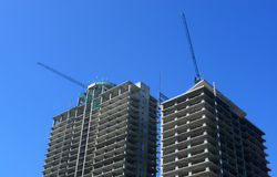 Construction site with tower crane over blue sky, Sept 30, 2014, Sofia, Bulgaria Stock Images