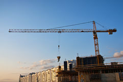 Construction site with tower cranes. New buildings Royalty Free Stock Photos