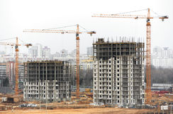 Construction site with tower cranes Stock Photography