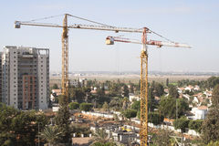 Construction site with tower cranes Royalty Free Stock Image
