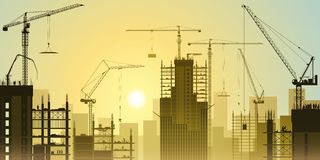 Construction Site with Tower Cranes Stock Images