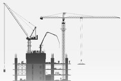 Construction Site with Tower Cranes Royalty Free Stock Photo