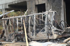 Construction site trailer burned down- fire insurance stock images