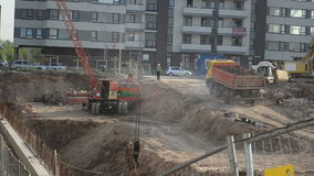 Construction site truck stock video footage